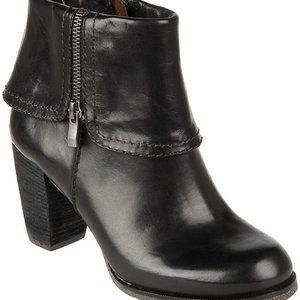 Naya Black Leather Lark Cuffed Ankle Boots
